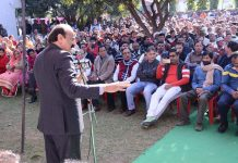 Senior NC leader, SS Slathia addressing party workers' meeting at Vijaypur on Saturday.
