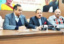 Union Minister Dr Jitendra Singh addressing a press conference at BJP headquarters, at Chandigarh on Monday.