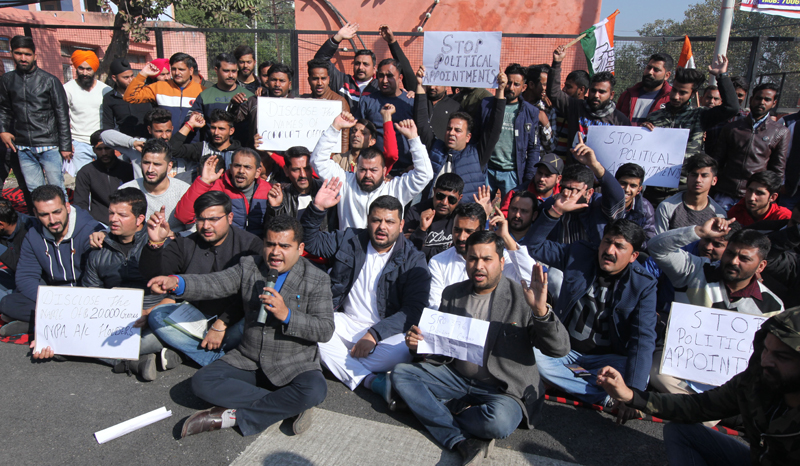 PYC activists staging protest outside Raj Bhawan in Jammu on Wednesday. — Excelsior/Rakesh
