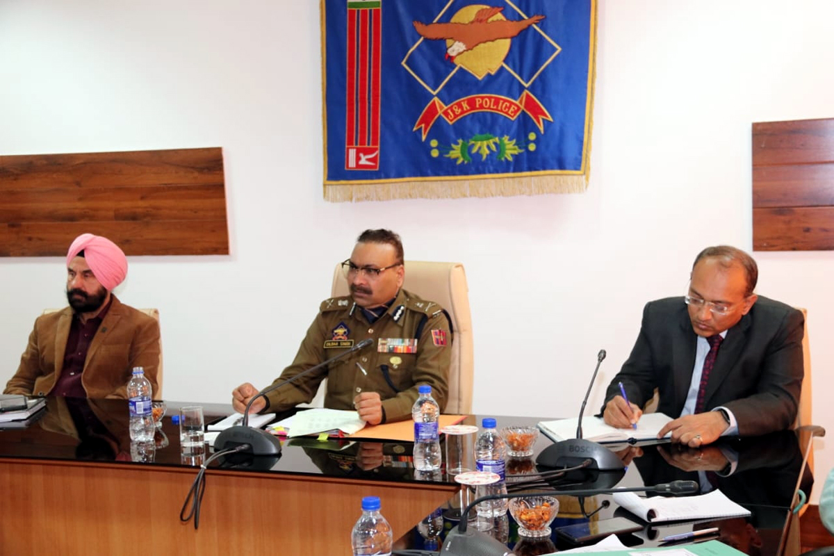 DGP Dilbag Singh reviewing functioning of Police Hospital Jammu on Wednesday.