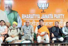 BJP leaders at a meeting at Jammu on Saturday.