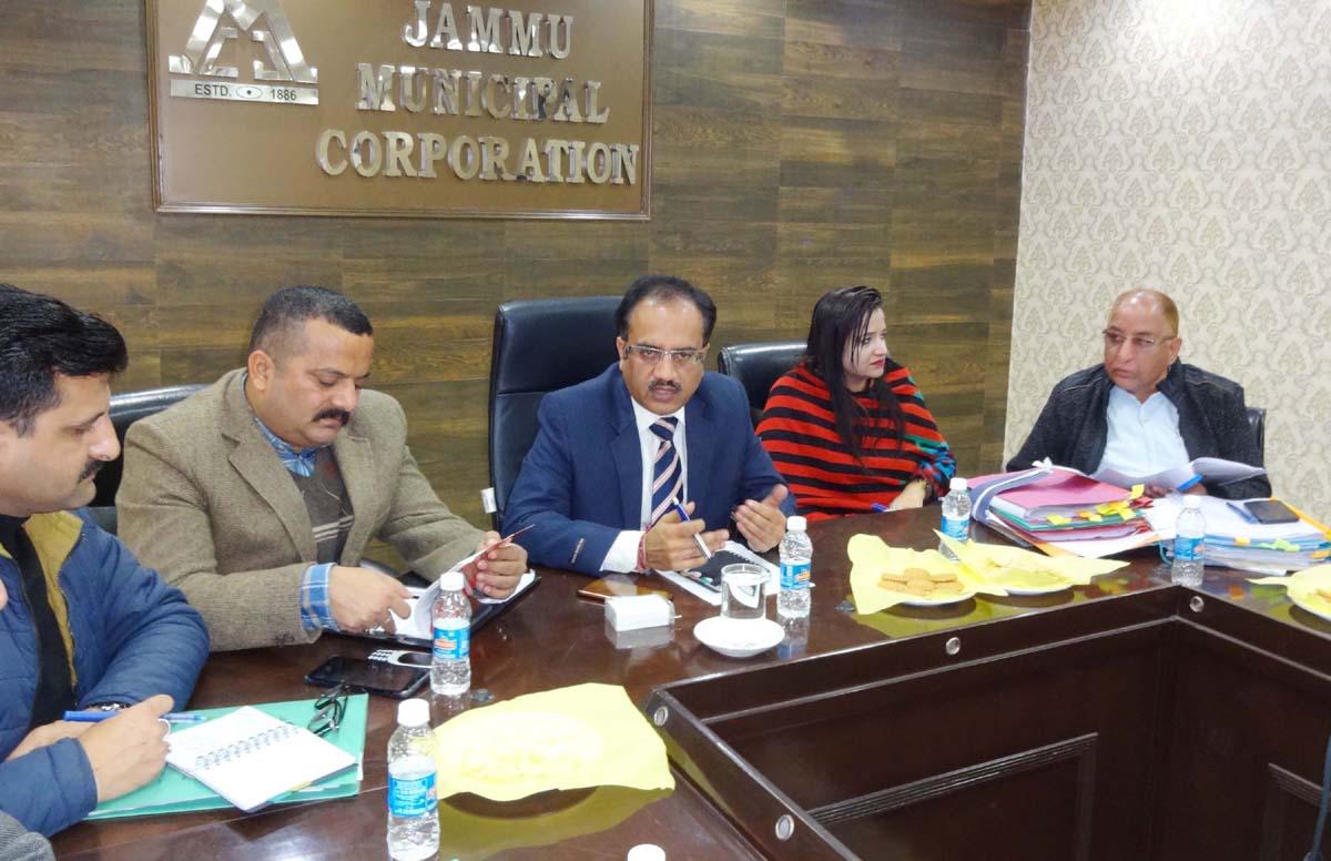 Jammu Municipal Corporation Commissioner, Pankaj Magotra chairing a meeting on Tuesday.