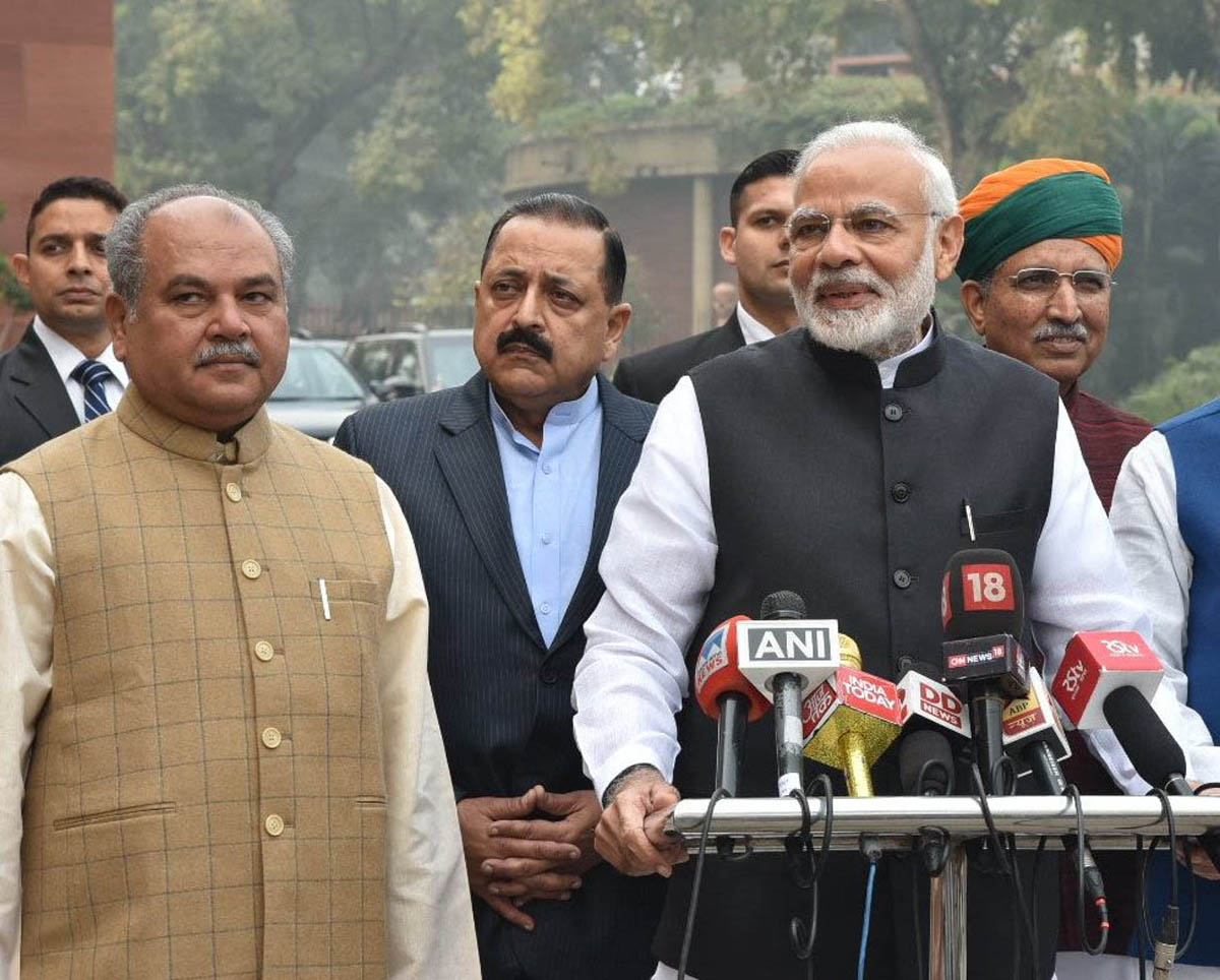Prime Minister Narendra Modi addressing the media on his arrival at Parliament House, on the first day of the winter session at New Delhi on Tuesday.