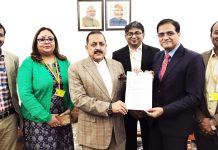 Union Minister Dr Jitendra Singh receiving a memorandum from a delegation of Railway officers at New Delhi on Friday.