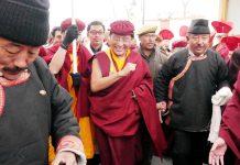 Gyalwang Drukpa arrives at Kushok Bakula Rinpoche Airport Leh. — Excelsior/Morup Stanzin