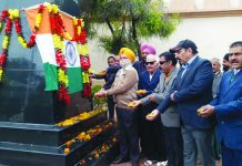 Freedom fighters paying tributes to martyrs of Parliament attack at a function in Jammu.