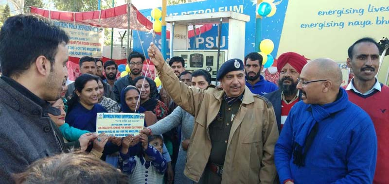 DIG Rajouri-Poonch Range, Deepak Kumar Salathia, launching BPCL's sales promotion scheme at Police Parivar Fuel Care (petrol pump), Rajouri, in the presence of Rajesh Sharma, BPCL's Territory Manager (Retail) for J&K.