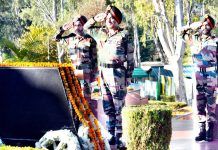GOC-in-C, Northern Command Lt Gen Ranbir Singh paying homage to martyrs of 1971 war, to mark `Vijay Divas' celebrations at Udhampur on Sunday.