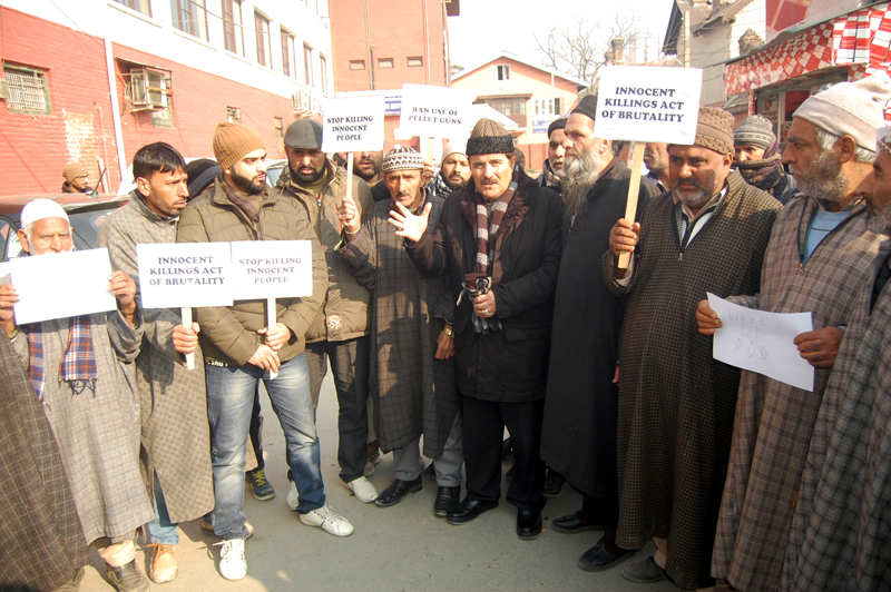 Residents during protest at Srinagar on Tuesday.