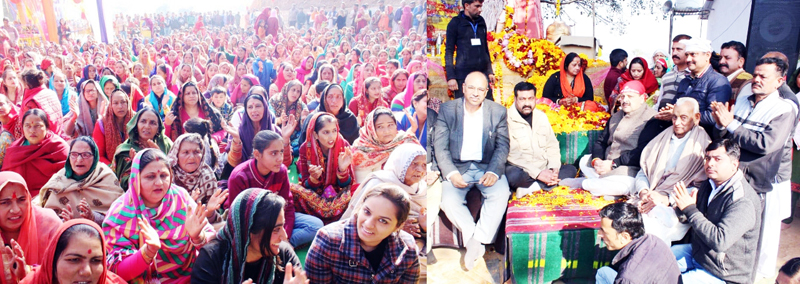 NC Provincial President Devender Singh Rana participating in a religious function on Monday.