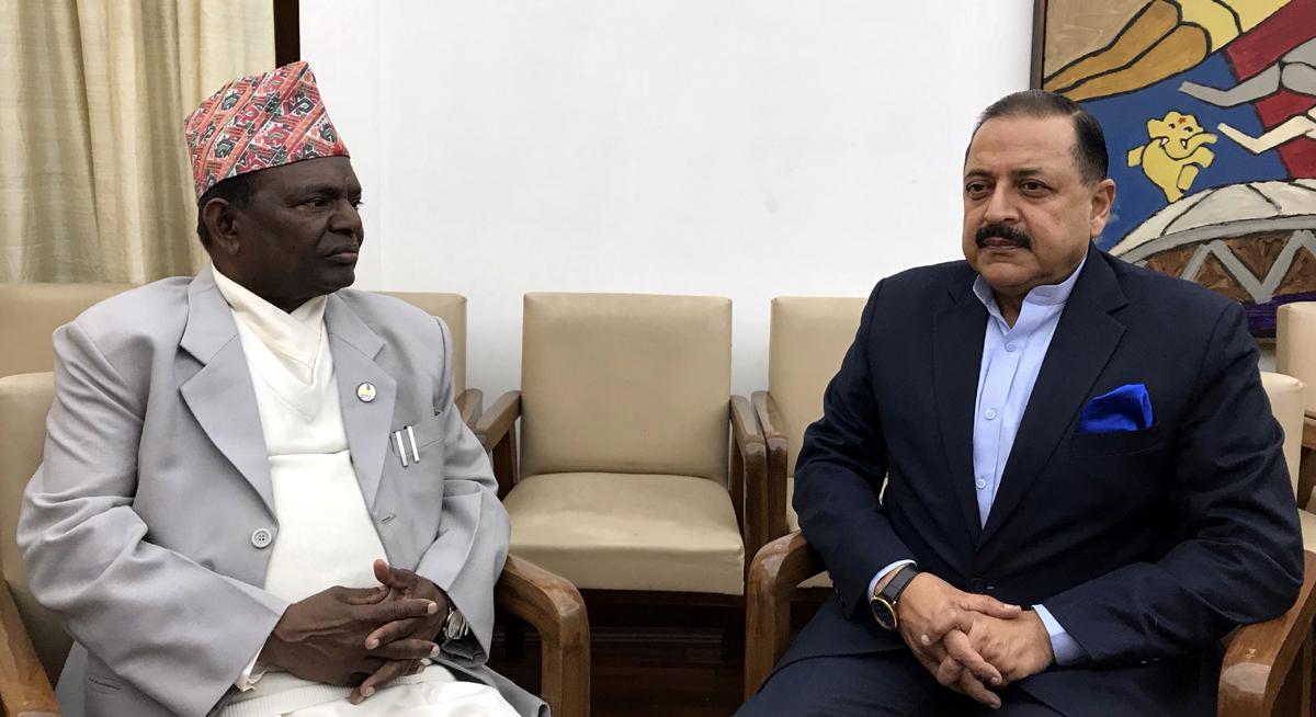 Nepal Minister for General Administration Department (GAD) and Federal Affairs, Lalbabu Pandit calling on Union Minister In-Charge DoPT Dr Jitendra Singh, at New Delhi on Tuesday.
