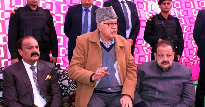 NC President Dr Farooq Abdullah addressing a gathering in Jammu on Wednesday.