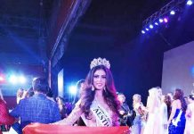 J&K's Anisha Safaya carrying Indian flag after being declared Mrs Aesthetic at Mrs Universe 2018.