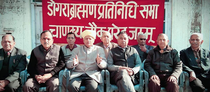 Members of Dogra Brahman Pratinidhi Sabha along with activists of other social organizations during a meeting at Jammu on Tuesday.