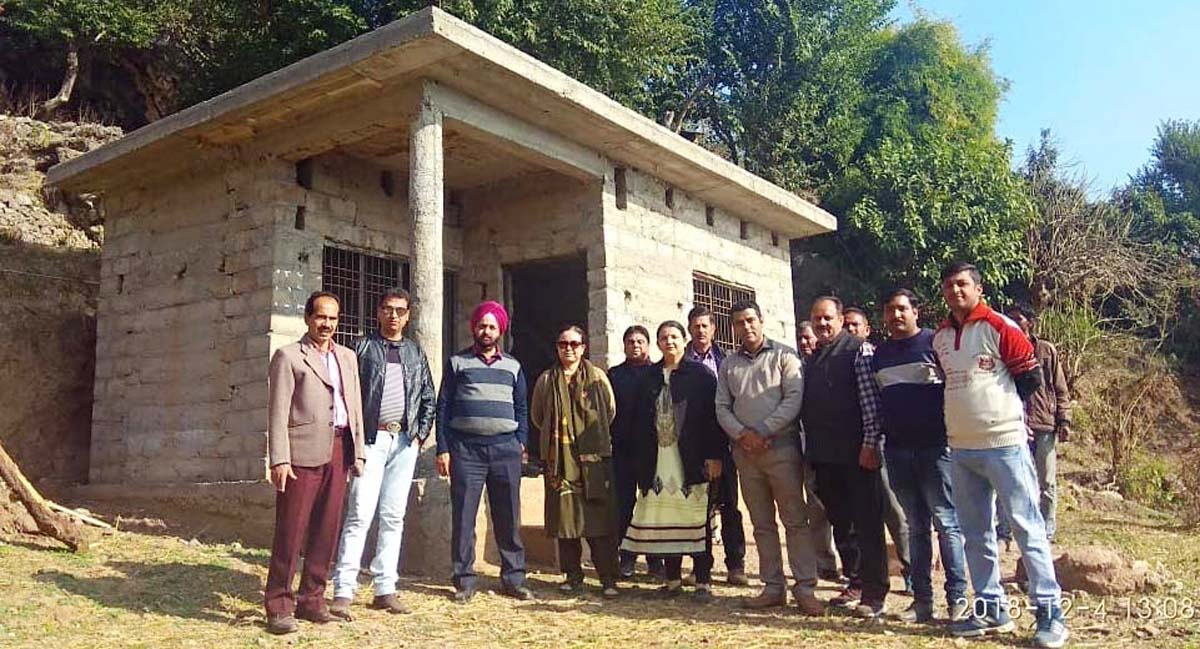 DG RDD, Rehana Batul and other officers during inspection of a PMAY house in block Tikri of Udhampur district.