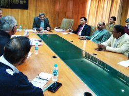 CEO Shaleen Kabra chairing a meeting in Jammu on Thursday.