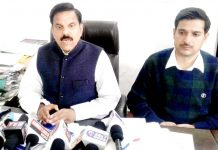 NPP chairman Harsh Dev Singh addressing media persons in Jammu on Sunday.