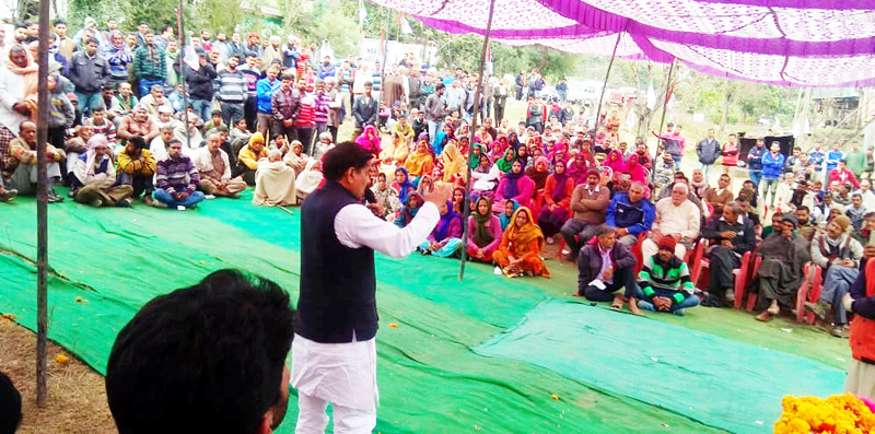 Panthers Party leader Harsh Dev Singh addressing a public gathering at Majalta on Monday.