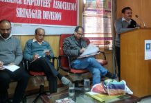 A senior trade unionist addressing meeting of insurance employees in Jammu on Saturday.