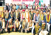 Former Minister Sham Lal Sharma & ex-MP Madan Lal Sharma alongwith elected Panchayat members during meeting at Akhnoor.