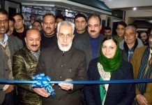 J&K Bank officials inaugurating new premises at Srinagar on Tuesday.