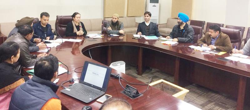 DG RDD, Rehana Batul, chairing a meeting of officers at Panchayat Bhawan, Jammu.