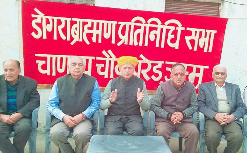 Dogra Brahman Pratinidhi Sabha members during a meeting at Jammu on Saturday.