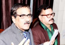 Secretary J&K Academy of Art, Culture and Languages (JKAACL), Dr. Aziz Hajini addressing a press conference at Jammu on Sunday. -Excelsior Rakesh