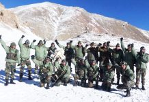 Northern Command chief Lt Gen Ranbir Singh with troops at Karakoram Pass.