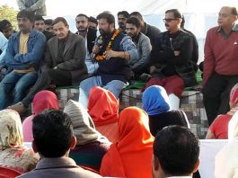 DSS president and former MP, Ch Lal Singh addressing public meeting in Manwal.