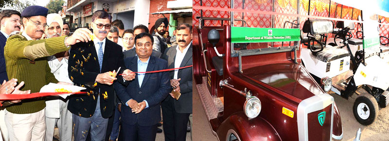 Advisor K Vijay Kumar launching battery operated car at Mansar Lake on Friday.