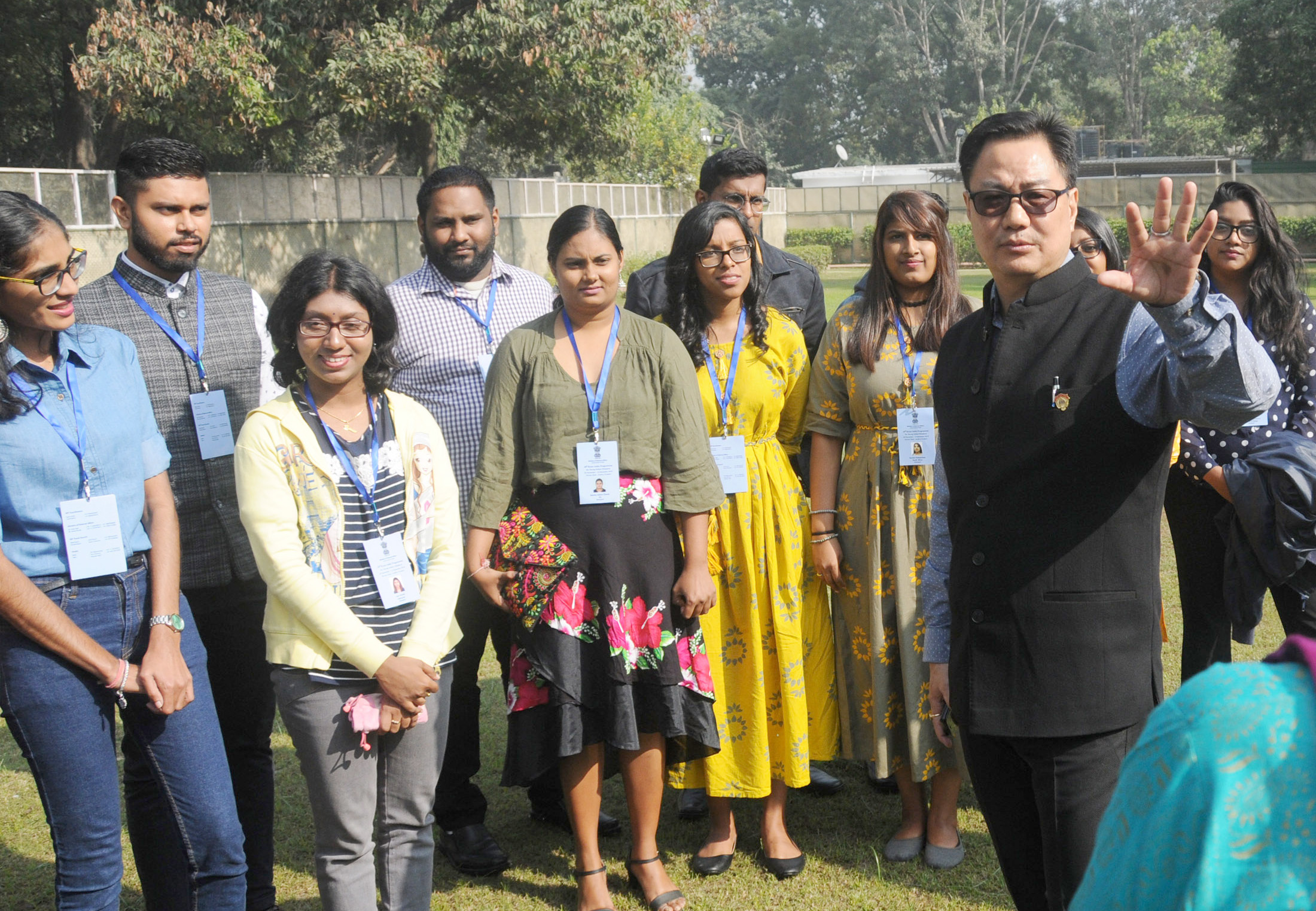 Minister of State for Home Affairs, Kiren Rijiju interacting with the participants of 'Know India Programme' (KIP) from eight countries, organised by MEA in partnership with Andhra Pradesh Government, in New Delhi on Saturday.