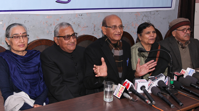 Dogri Sanstha office bearers addressing a press conference at Jammu on Monday. — Excelsior/Rakesh