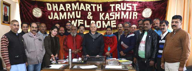 President, J&K Dharmarth Trust, BR Kundal posing with members and guests during a function at Jammu.