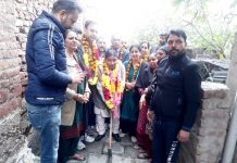 Former Minister Sat Sharma formally kick-starting work on lane in Ward Number 12 of Jammu on Monday.