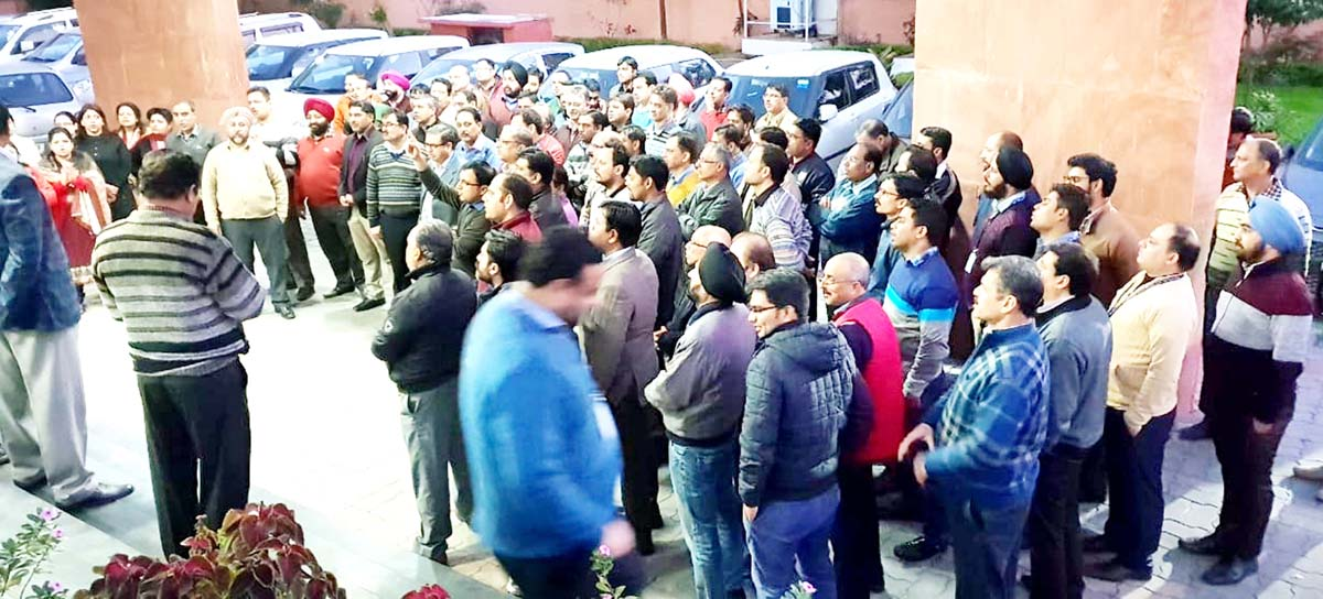 Bank officers protesting in support of their demands at Jammu on Tuesday.