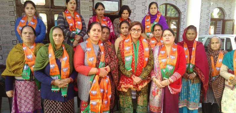 BJP Mahila Morhca activists during Mahila Jodo Abhiyaan at Udhampur on Saturday.