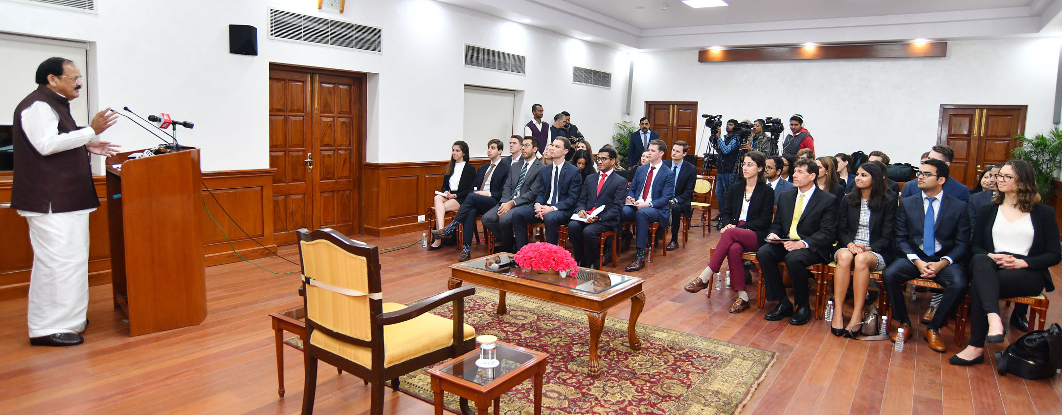 Vice President, M. Venkaiah Naidu addressing the Students from Stanford Graduate School of Business, in New Delhi on Tuesday.