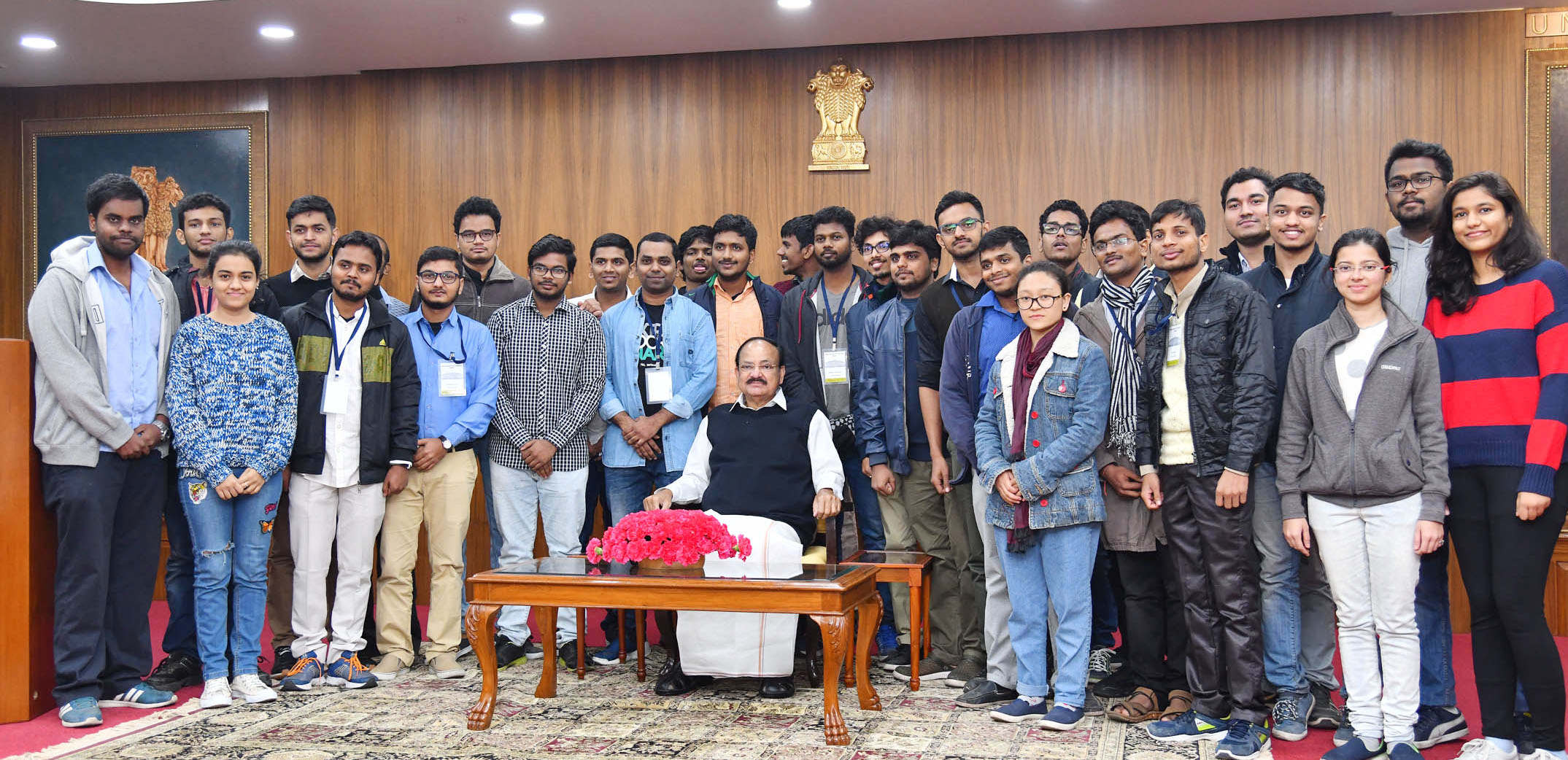 Vice President, M. Venkaiah Naidu with a group of the members of Student Legislative Council of IIT Madras, in New Delhi on Thursday.