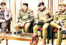 SP South, Vinay Sharma, reviewing security situation in a meeting held at Trikuta Nagar in Jammu.