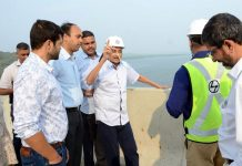 Goa Chief Minister Manohar Parrikar inspecting the construction of Zuari bridge and third Mandovi bridge.