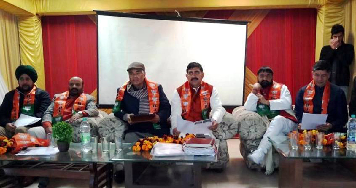 BJP leaders at a function at Muthi on Sunday.