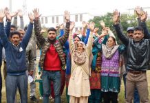 Residents raising slogans during protest at Samba on Monday.