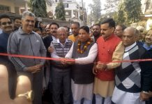 Former Minister, Sat Sharma, inaugurating macadamization work in Ward No 40 of Jammu Municipal Corporation.