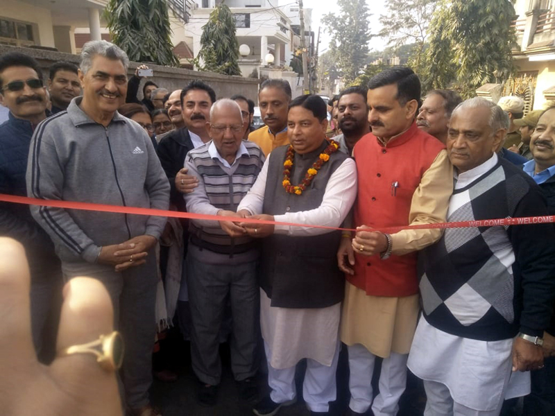 Former Minister, Sat Sharma, inaugurating macadamization work in Ward No 40 of Jammu Municipal Corporation.