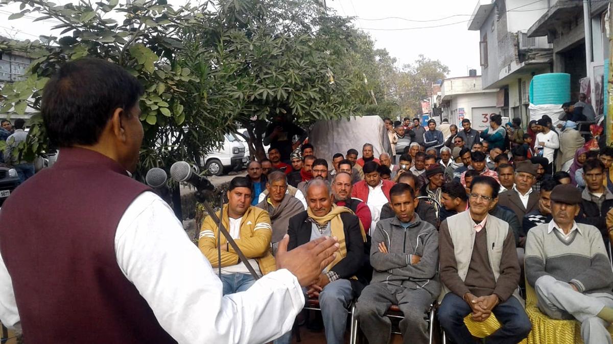 Harsh Dev Singh, chairman JKNPP, addressing a public meeting in Bishnah town.