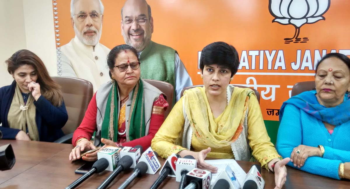 BJP Mahila Morcha president, Rajni Sethi along with other leaders at a press conference at Jammu on Tuesday.