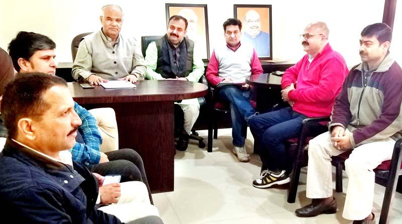 BJP general secretary, (org) Ashok Kaul addressing a party meeting at Jammu on Wednesday.