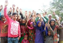 Residents of Choki and Katwalt villages during a protest at Choki in Udhampur district.