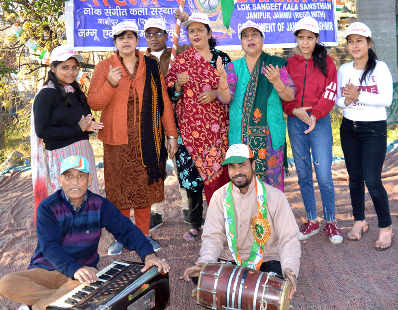 A scene from the Musical Play 'Uncha Rahe Trianga' staged at Jammu on Saturday.